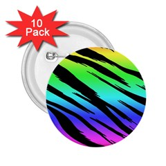 Rainbow Tiger 2.25  Button (10 pack) by ArtistRoseanneJones