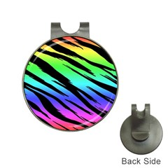 Rainbow Tiger Hat Clip With Golf Ball Marker by ArtistRoseanneJones