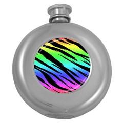 Rainbow Tiger Hip Flask (round) by ArtistRoseanneJones