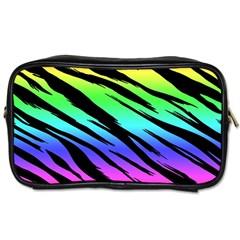 Rainbow Tiger Travel Toiletry Bag (one Side) by ArtistRoseanneJones