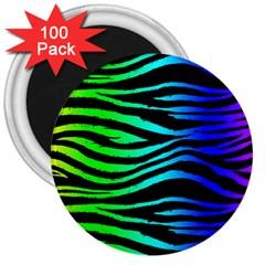 Rainbow Zebra 3  Button Magnet (100 Pack) by ArtistRoseanneJones