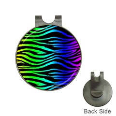 Rainbow Zebra Hat Clip With Golf Ball Marker by ArtistRoseanneJones