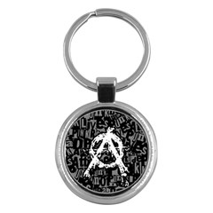 Anarchy Key Chain (round) by ArtistRoseanneJones