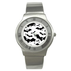 Deathrock Bats Stainless Steel Watch (slim) by ArtistRoseanneJones