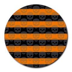 Deathrock Stripes 8  Mouse Pad (round) by ArtistRoseanneJones