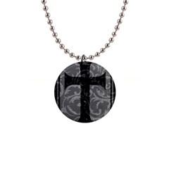 Goth Brocade Cross Button Necklace by ArtistRoseanneJones