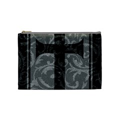 Goth Brocade Cross Cosmetic Bag (medium) by ArtistRoseanneJones