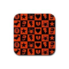 Goth Punk Checkers Drink Coaster (square) by ArtistRoseanneJones