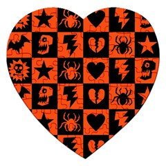 Goth Punk Checkers Jigsaw Puzzle (heart) by ArtistRoseanneJones