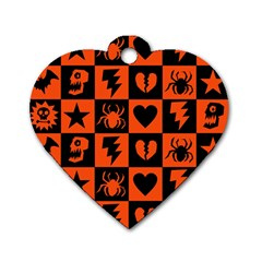 Goth Punk Checkers Dog Tag Heart (one Sided)  by ArtistRoseanneJones
