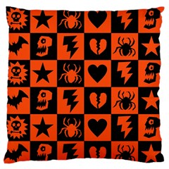 Goth Punk Checkers Large Flano Cushion Case (One Side) by ArtistRoseanneJones