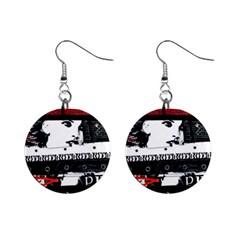 Punk Chick Mini Button Earrings by ArtistRoseanneJones