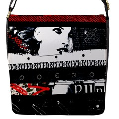 Punk Chick Flap Closure Messenger Bag (small) by ArtistRoseanneJones