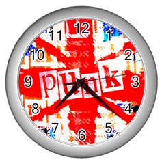Punk Union Jack Wall Clock (silver) by ArtistRoseanneJones
