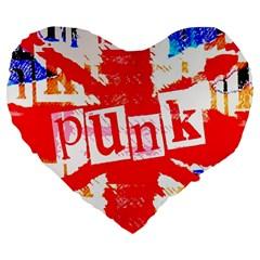 Punk Union Jack Large 19  Premium Flano Heart Shape Cushion by ArtistRoseanneJones
