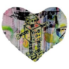 Graffiti Graphic Robot Large 19  Premium Flano Heart Shape Cushion by ArtistRoseanneJones