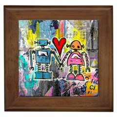 Graffiti Pop Robot Love Framed Ceramic Tile by ArtistRoseanneJones