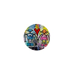 Graffiti Pop Robot Love 1  Mini Button Magnet by ArtistRoseanneJones