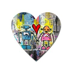 Graffiti Pop Robot Love Magnet (heart) by ArtistRoseanneJones