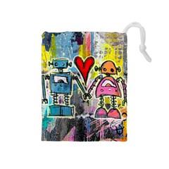 Graffiti Pop Robot Love Drawstring Pouch (medium) by ArtistRoseanneJones