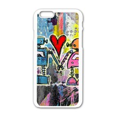 Graffiti Pop Robot Love Apple iPhone 6 White Enamel Case