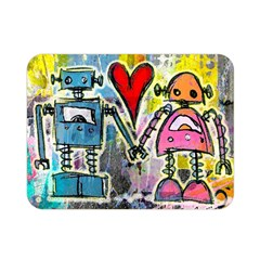 Graffiti Pop Robot Love Double Sided Flano Blanket (mini) by ArtistRoseanneJones