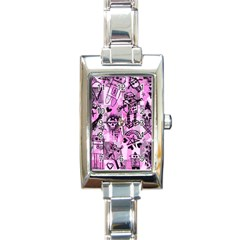 Pink Scene Kid Sketches Rectangular Italian Charm Watch by ArtistRoseanneJones