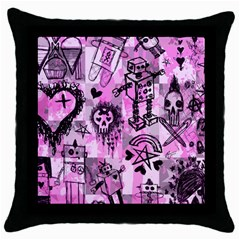 Pink Scene Kid Sketches Black Throw Pillow Case by ArtistRoseanneJones