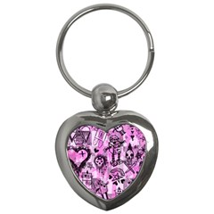 Pink Scene Kid Sketches Key Chain (heart) by ArtistRoseanneJones