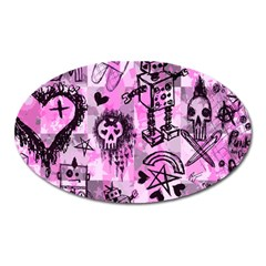 Pink Scene Kid Sketches Magnet (oval) by ArtistRoseanneJones