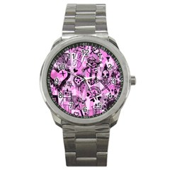 Pink Scene Kid Sketches Sport Metal Watch by ArtistRoseanneJones
