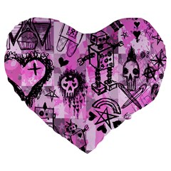 Pink Scene Kid Sketches Large 19  Premium Flano Heart Shape Cushion by ArtistRoseanneJones