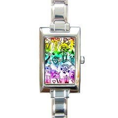 Rainbow Scene Kid Sketches Rectangular Italian Charm Watch by ArtistRoseanneJones