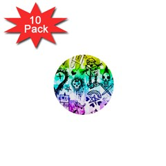 Rainbow Scene Kid Sketches 1  Mini Button (10 Pack) by ArtistRoseanneJones