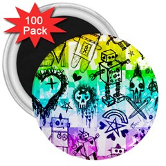 Rainbow Scene Kid Sketches 3  Button Magnet (100 Pack) by ArtistRoseanneJones