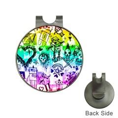 Rainbow Scene Kid Sketches Hat Clip With Golf Ball Marker by ArtistRoseanneJones