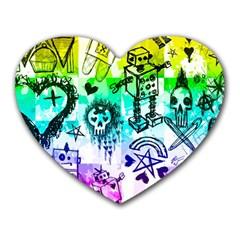 Rainbow Scene Kid Sketches Mouse Pad (heart) by ArtistRoseanneJones