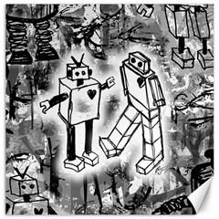 Robot Love Canvas 20  x 20  (Unframed) by ArtistRoseanneJones