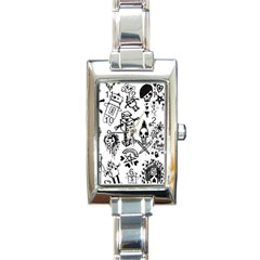 Scene Kid Sketches Rectangular Italian Charm Watch by ArtistRoseanneJones