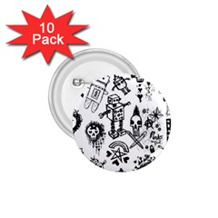 Scene Kid Sketches 1 75  Button (10 Pack) by ArtistRoseanneJones