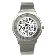 Scene Kid Sketches Stainless Steel Watch (slim) by ArtistRoseanneJones
