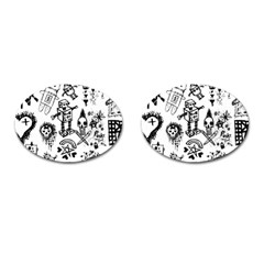 Scene Kid Sketches Cufflinks (oval) by ArtistRoseanneJones