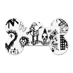Scene Kid Sketches Dog Tag Bone (two Sided) by ArtistRoseanneJones