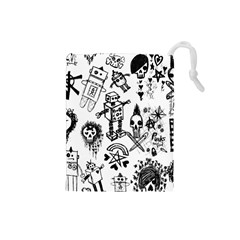 Scene Kid Sketches Drawstring Pouch (small) by ArtistRoseanneJones