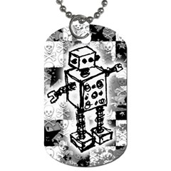 Sketched Robot Dog Tag (two Sided)  by ArtistRoseanneJones