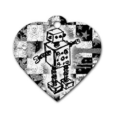 Sketched Robot Dog Tag Heart (one Sided)  by ArtistRoseanneJones