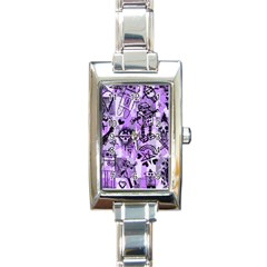 Purple Scene Kid Sketches Rectangular Italian Charm Watch by ArtistRoseanneJones