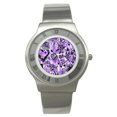 Purple Scene Kid Sketches Stainless Steel Watch (slim) by ArtistRoseanneJones