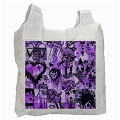 Purple Scene Kid Sketches White Reusable Bag (One Side) by ArtistRoseanneJones