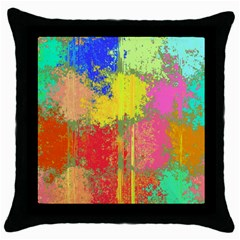 Colorful Paint Spots Throw Pillow Case (black) by LalyLauraFLM